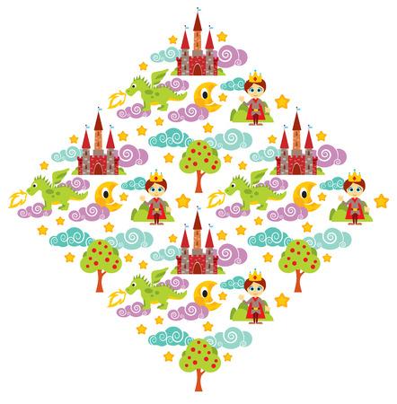 Illustration of prince, dragon, tree, castle pattern