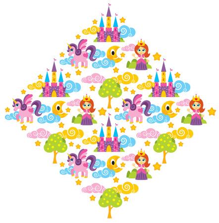 Illustration of princess, unicorn, tree, castle pattern
