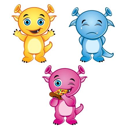 Illustration of 3 cute, colorful, little monsters Ilustração