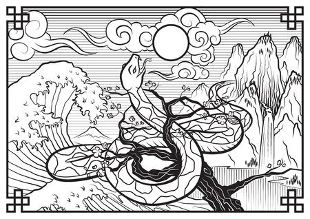 Illustration of Japanese mountain, tree, snake, waves Ilustração