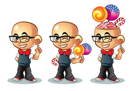 Illustration of cute candy boy with glasses