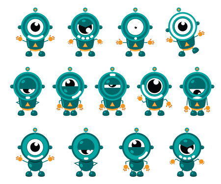 Illustration of cute little robot in several position