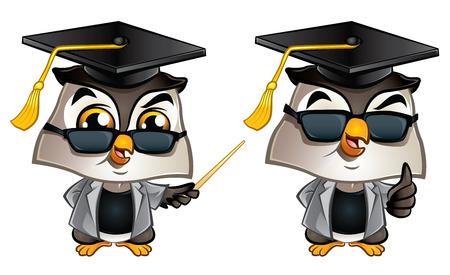 Illustration of cute Professor Owl with dark glasses