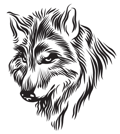 Illustration of black and white wolf head