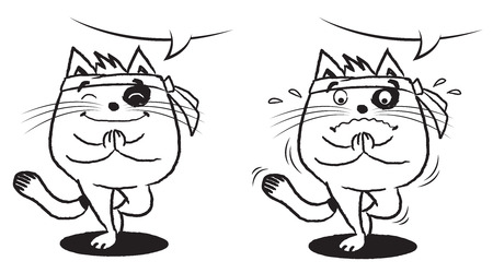 Illustration of black and white cat in Namaste position Ilustração