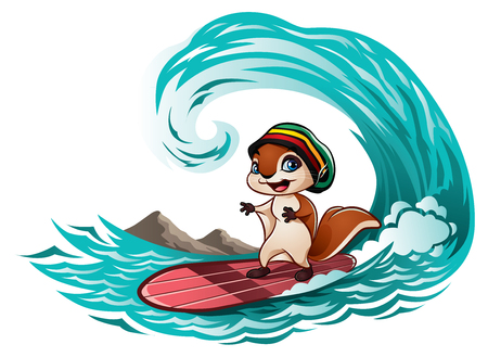 Squirrel riding the waves