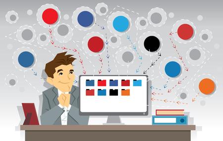 Illustration of business man, computer and networks Ilustração