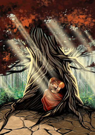 Illustration of young girl sleeping in the tree Imagens
