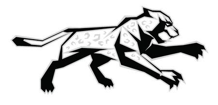 Illustration of black, white, grey jaguar jump Ilustração
