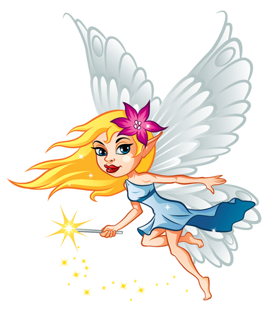 fairy wand: Illustration of cute little fairy with magic wand