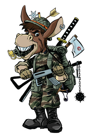 Illustration of donkey soldier with big weapon