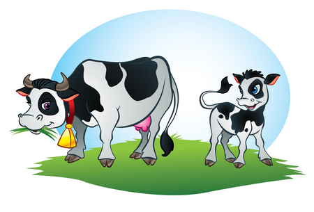 Illustration of Cow and little calf cow