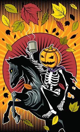 Illustration of Halloween pumpkin skeleton ride on skeleton horse