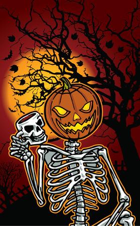 Illustration of Halloween pumpkin skeleton Ilustração