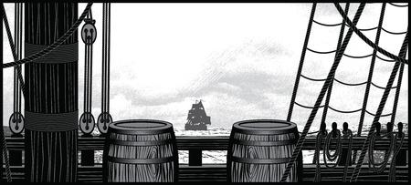 Illustration of ship deck with barrels and ropes Ilustração
