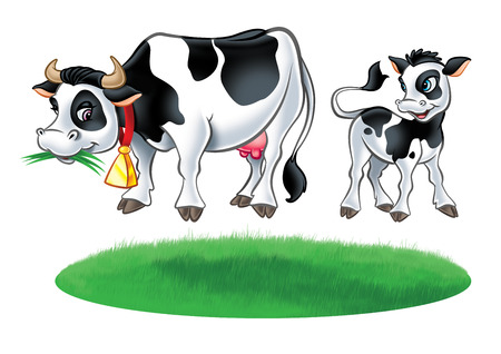 Illustration of Cow, little calf cow and grass meadow