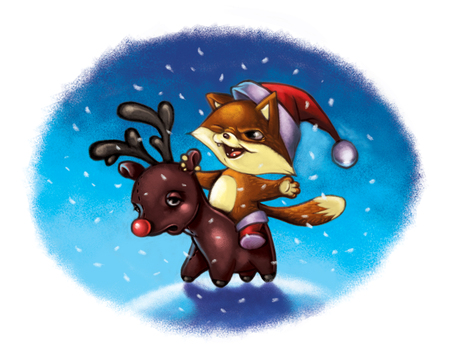 Illustration of little cat ride reindeer toy Imagens