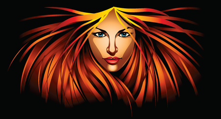 Illustration of beautiful girl with fire red hair