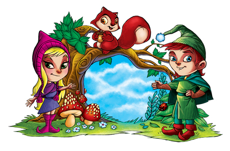 Illustration of two cute forest elves with squirrel
