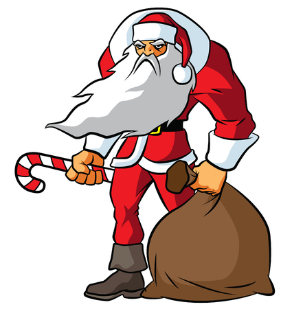 Illustration of big and angry badass Santa Claus