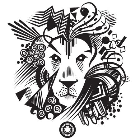 Illustration of black abstract lion with geometric shapes Ilustração