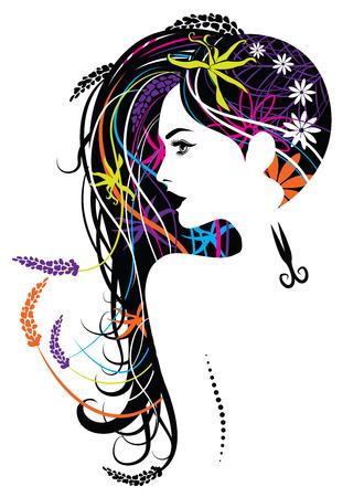 Illustration of long hair beautiful women for haircut studio Ilustração