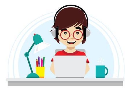 Illustration of nerd with round glasses working on laptop