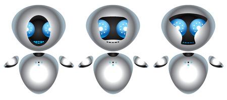 Illustration of three chrome robot with big blue eyes