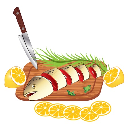 fishy: Vector fresh fish on cutting board isolated on white background