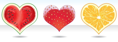 Collection of fruit vector hearts icons on the white background Illustration