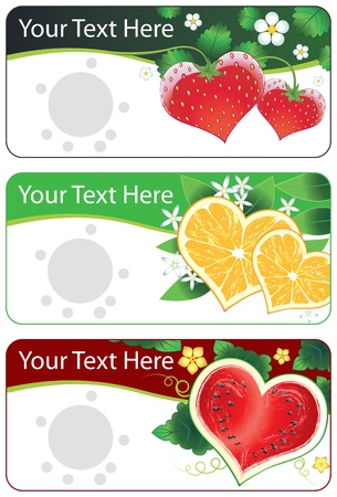 Vector collection set of banners with vector fruits hearts and flowers