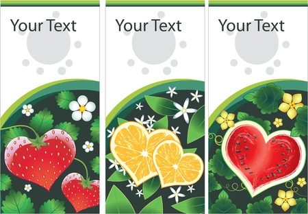 Set of banner with vector fruits hearts