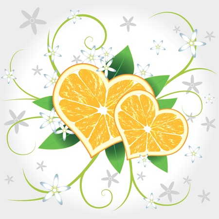 lime: Juicy delicious vector lemons hearts with flowers Illustration