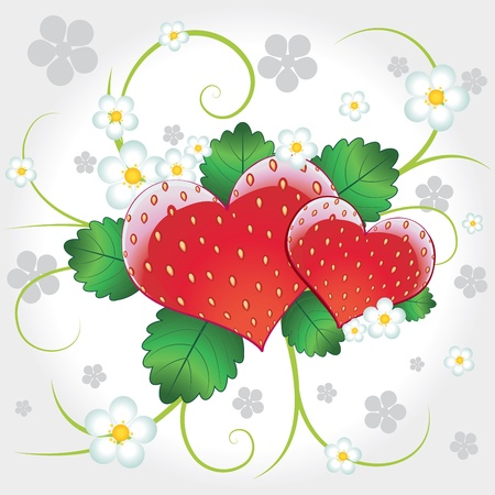 Juicy delicious vector strawberries hearts with flowers