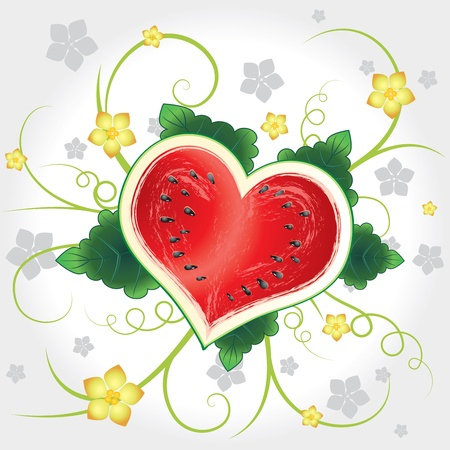 Juicy delicious vector watermelon heart with flowers