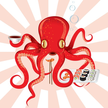 Illustration of a funny Japanese octopus that eats sushi with soy sauce