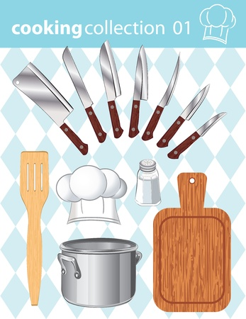 Vector collection of kitchen and cooking tools on the background