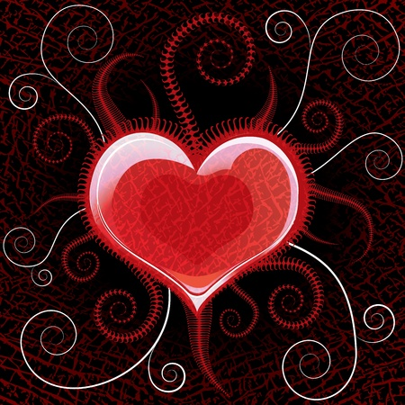 Red shiny heart on vector black background with swirls Vector