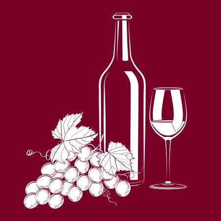 wijn en spijzen: illustratie van vintage nog steeds leven met een glas, een fles wijn en druiven Stock Illustratie