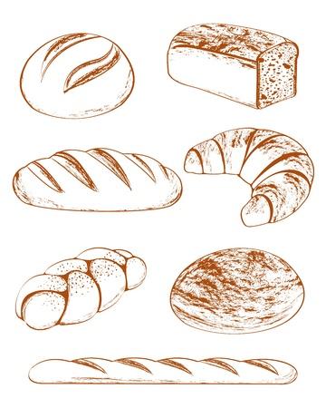 panadero: Colección de pan en el fondo blanco