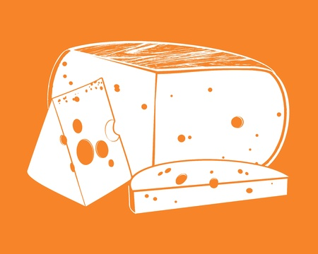 Vector illustration pieces of cheese on the background