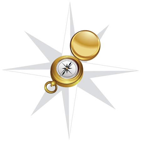 Illustration of the compass and wind rose on white background Stock Vector - 14073833