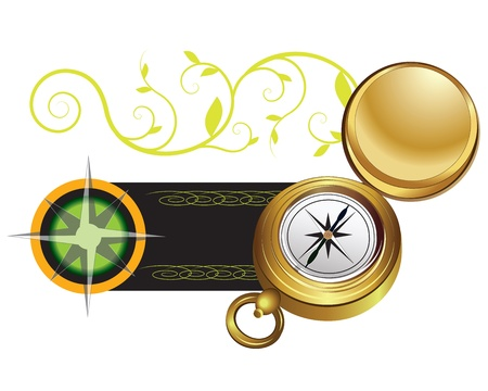 Banner with compass and wind rose on white background Stock Vector - 14073847
