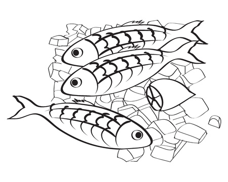 fishy: illustration of fresh fish and lemon on the ice with isolated white background