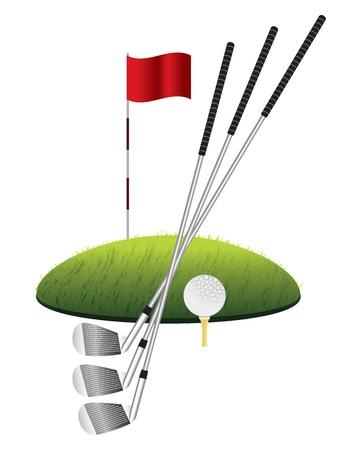 golf drapeau: Coup d'la balle de golf sur l'herbe