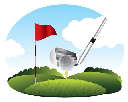 golf drapeau: Frapper la balle de golf sur l'herbe