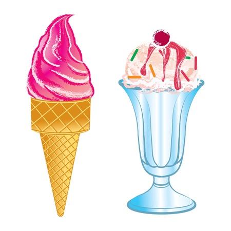 白い背景で隔離のおいしいアイスクリーム