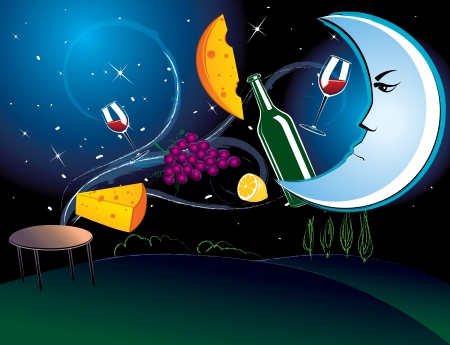 illustration of the dinner in the moonlight with tasty food Illustration