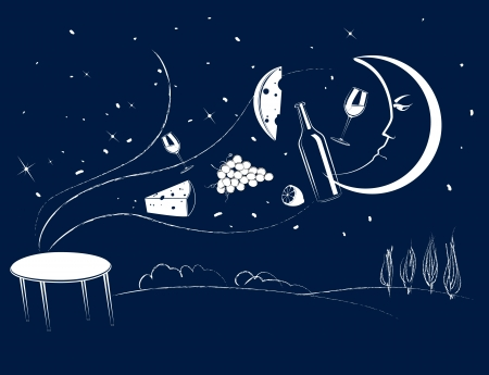 lemon tree: Tasty foods are flying over the table under the light of the moon