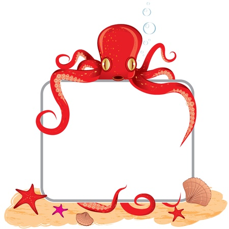 Background of the octopus, which holds a sign Vector